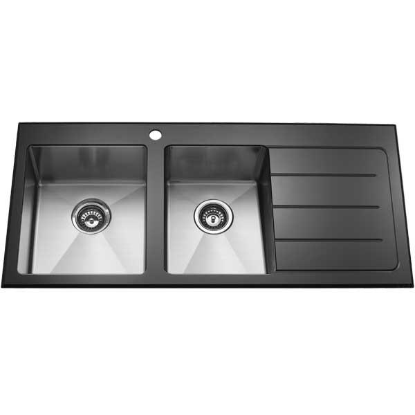 1 + 3/4 Bowl Tempered Glass Black Designer Kitchen Sink with ...