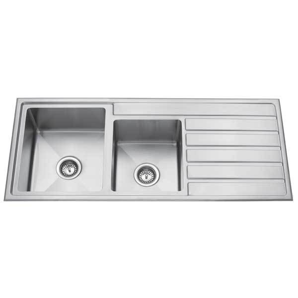 Premium Top Mount Double Bowl Kitchen Sink With Drainer