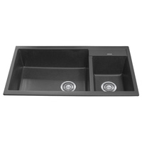 1 + 1/4 Bowl Black Granite Stone Topmount Kitchen Sink  - 860mm