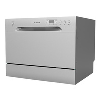 6 Place Stainless Steel Electronic Benchtop Dishwasher - Silver