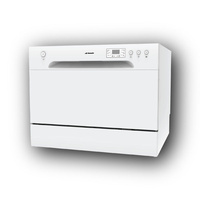 6 Place Stainless Steel Electronic Benchtop Dishwasher - White