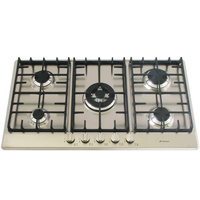 Stainless Steel Gas Cooktop + Wok Burner - 860mm