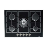 Premium Black Gas-On-Glass Cooktop with Flat Trivet Supports  - 700MM - GOG70LX