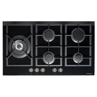 Premium Black Gas-OnGlass Cooktop Flat Trivet Supports + Side Wok - 870MM - GOG90LX