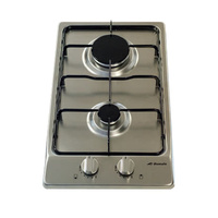 Domain Premium Two Burner Stainless Steel Gas Cooktop with Flame Failure Device - 300mm