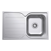 Polished Single Bowl Kitchen Sink and Drainer - 780mm - Right Hand Bowls Left Hand Drainer