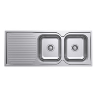 Polished Double Bowl Kitchen Sink and Drainer - 1180mm - Right Hand Bowls Left Hand Drainer