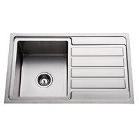 Premium Top Mount Single Bowl Kitchen Sink with Drainer - 780mm  - Left Hand Bowls Right Hand Drainer