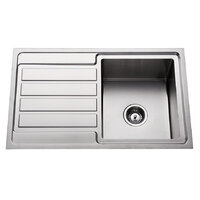 Premium Top Mount Single Bowl Kitchen Sink with Drainer - 780mm - Right Hand Bowls Left Hand Drainer