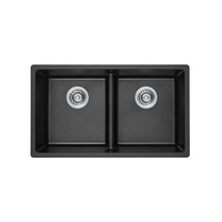 Double Bowl Black Granite Topmount Kitchen Sink - 790mm - SDB79