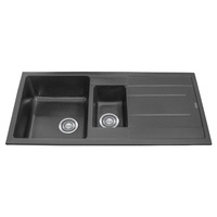 1 + 1/4 Bowl Black Granite Stone Topmount Kitchen Sink with Drainer - 1000mm
