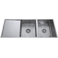 Double Bowl Undermount Kitchen Sink with Drainer - 1114mm