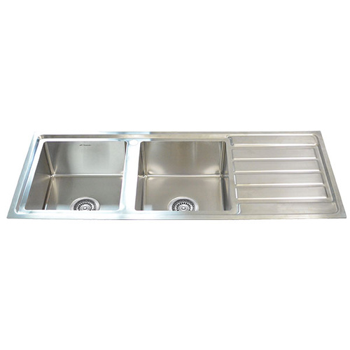 Double Bowl Ceramic Sink With Drainer : ... Mount Premium Top Mount Double Bowl Kitchen Sink with Drainer - 1180mm