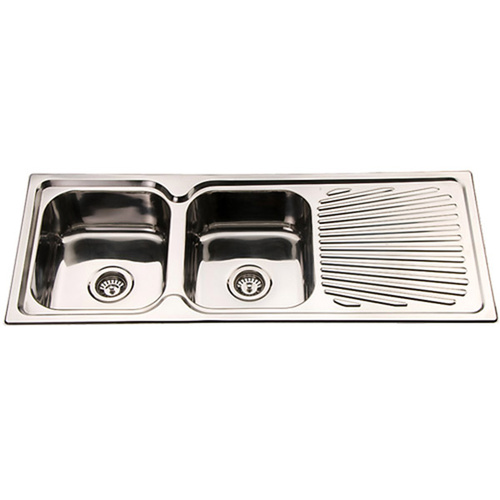 Kitchen Sinks Top Mount Polished Double Bowl Kitchen Sink and Drainer ...