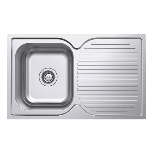 Polished Single Bowl Kitchen Sink and Drainer - 780mm - POL100-A