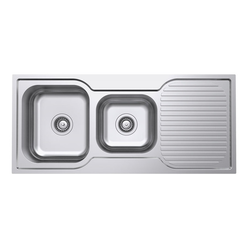 Polished 1 + 3/4 Bowl Kitchen Sink and Drainer - 1075mm