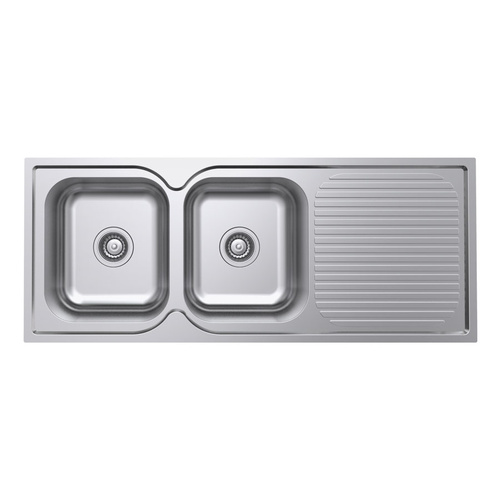 Polished Double Bowl Kitchen Sink and Drainer - 1180mm
